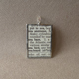 Sea anemone, vintage 1940s dictionary illustration, up-cycled to hand soldered glass pendant