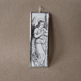 Angel illustration, art nouveau, upcycled to soldered glass pendant