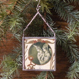 Angels, vintage French Christmas postcards, upcycled to hand-soldered glass Christmas tree ornament