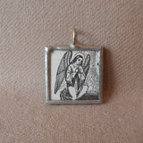 Sacred Heart, Angel, vintage religious iconography, upcycled to soldered glass pendant
