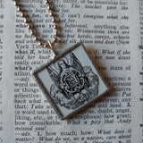 Angel and Christian cross, vintage religious iconography, upcycled to soldered glass pendant