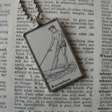 Aquaplane, waterski, vintage dictionary illustration, hand-soldered glass pendant