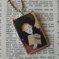 Art nouveau woman reading a book, vintage illustration, upcycled to soldered glass pendant