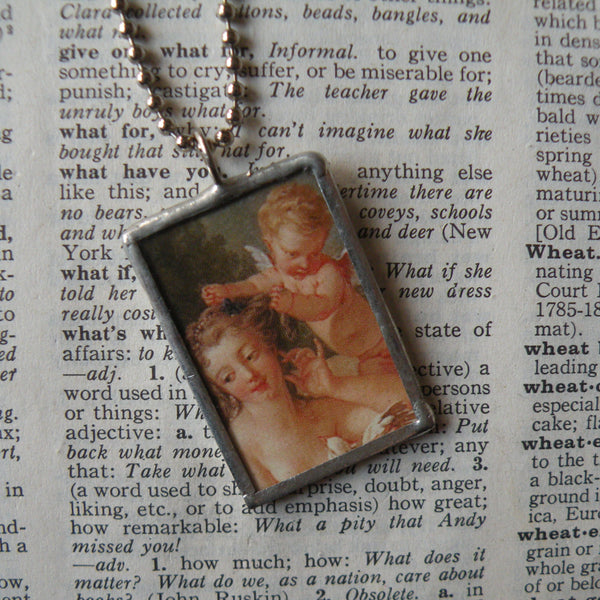 Rubens Goddess and cherubs, Baroque painting, upcycled to hand soldered glass pendant