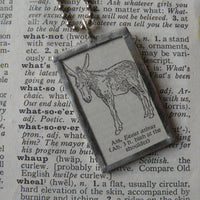 Ass, donkey, burro, vintage 1940s dictionary illustration, up-cycled to hand-soldered glass pendant