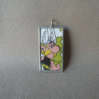 Asterix, original vintage 1960s book illustrations, upcycled to soldered glass pendant