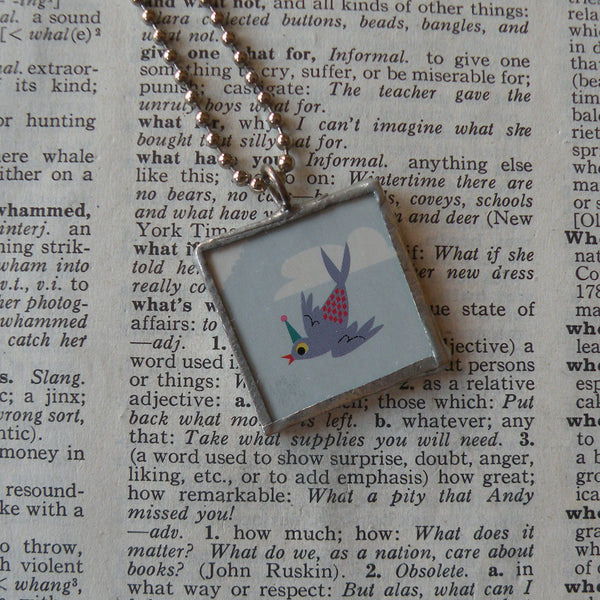 Little bluebird, vintage children's party invitation illustration, up-cycled to hand-soldered glass pendant