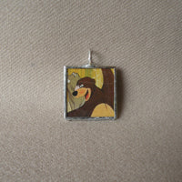 Mogli and Baloo, vintage illustrations, up-cycled to soldered glass pendant