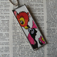Bambi, Thumper, Pluto, original illustrations from vintage book, up-cycled to soldered glass pendant
