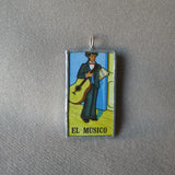 El Bandolon, mandolin, El Musico, musician, Mexican loteria cards up-cycled to soldered glass pendant