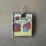 Barbar, original vintage 1960s book illustrations, upcycled to soldered glass pendant
