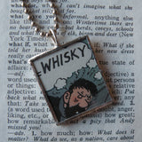 Tintin Captain Haddock, original vintage 1960s book illustrations, upcycled to soldered glass pendant