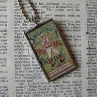 Vintage baseball card illustration, handmade soldered glass pendant with choice of necklace, bookmark or keychain