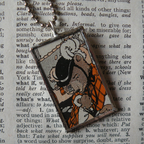 1Mama Bear, Baby Bear, Goldilocks, vintage children's book illustration upcycled to soldered glass pendant