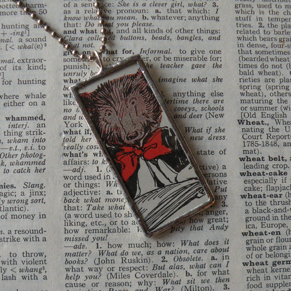 Teddy Bear in a red bow, vintage children's book illustrations, up-cycled to soldered glass pendant