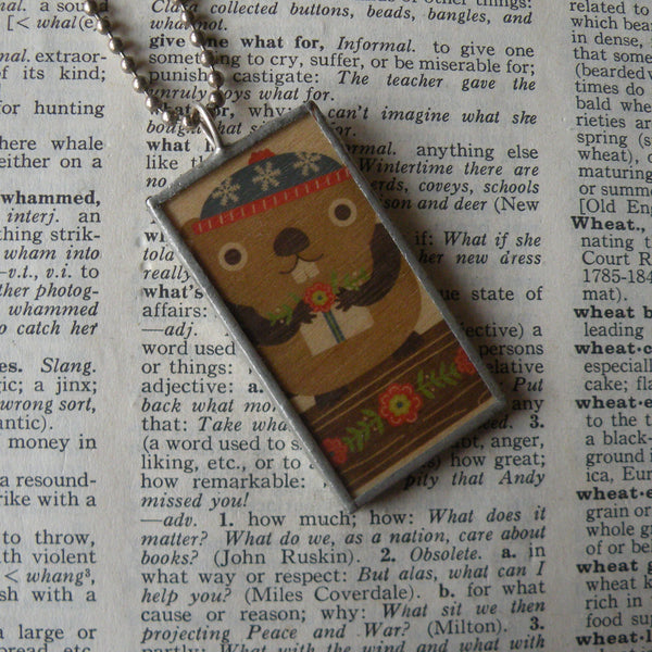 Beaver, vintage illustration printed on balsa wood, upcyclec to hand-soldered glass pendant