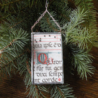 Mary and baby Jesus, vintage 1960s Christmas cards, upcycled to hand-soldered glass Christmas tree ornament