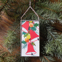 Vintage Santa Claus jack in the box, die cut ephemera, upcycled to hand-soldered glass Christmas tree ornament