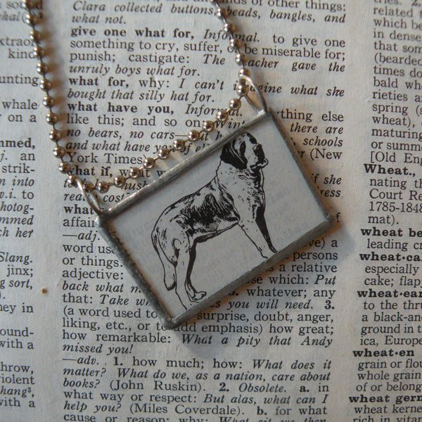 Saint Bernard, vintage 1940s dictionary illustration, up-cycled to hand-soldered glass pendant