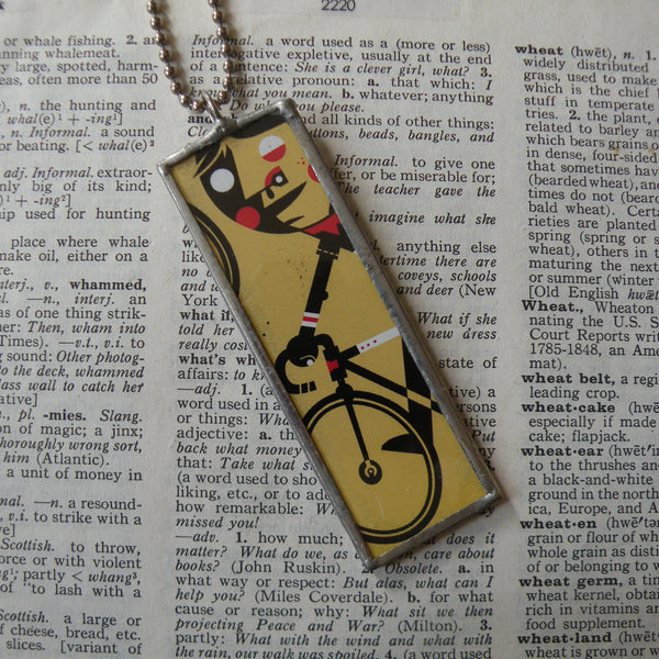 Bicycle, bicyclist, bike, vintage illustration upcycled to 2-sided soldered glass pendant