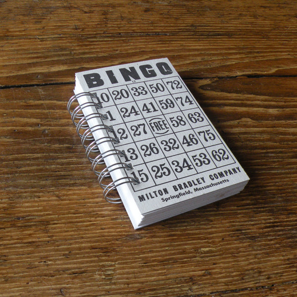 Vintage Bingo game card up-cycled to wire-bound sketchbook / journal