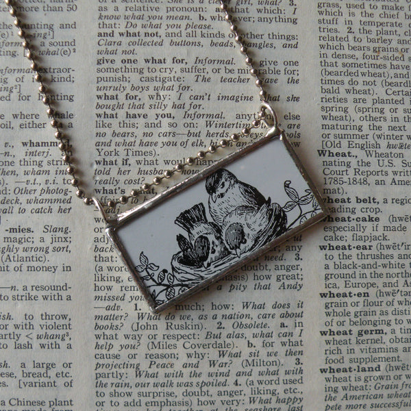 Mother bird and chicks, vintage illustrations upcycled to soldered glass pendant