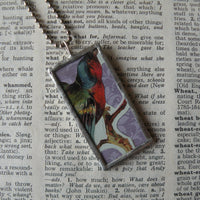 Bird, dogwood blossoms, vintage die cut ephemera, up-cycled to soldered glass pendant