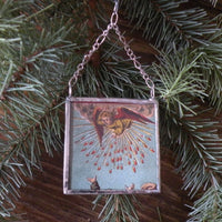 Angels, nativity scene, vintage French Christmas postcards, upcycled to hand-soldered glass Christmas tree ornament