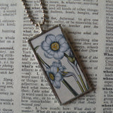 Blue narcissus and bulb, botanical illustrations, 2-sided,  hand-soldered glass pendant1