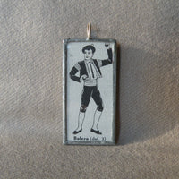 Bolero, Spanish Flamenco, Matador, vintage dictionary illustration up-cycled to soldered glass pendant