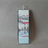 Boston, Massachusetts, Vintage greeting card illustrations up-cycled to soldered glass pendant
