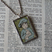 Boy with rabbit and dog, vintage 1930s children's book illustrations up-cycled to soldered glass pendant