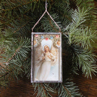Angels and baby Jesus, vintage French Christmas postcards, upcycled to hand-soldered glass Christmas tree ornament