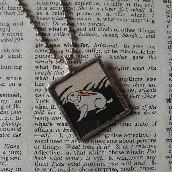 Charming rabbits, original illustrations from vintage book, up-cycled to soldered glass pendant