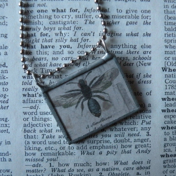 Wasp, bee, flower illustrations up-cycled to hand soldered glass pendant