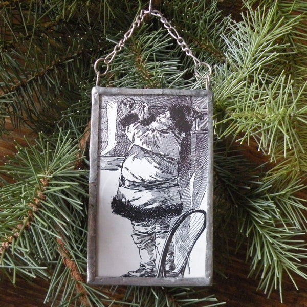 Santa Claus, Saint Nicholas vintage illustrations, upcycled to hand-soldered glass Christmas tree ornament
