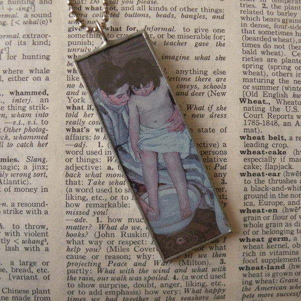 1Mary Cassat, The Child's Bath, hand-soldered glass pendant