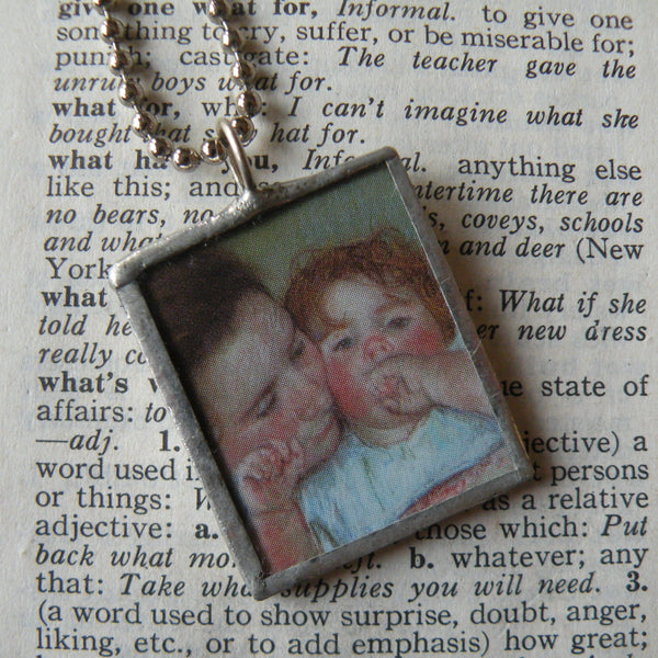 1Mary Cassat, mother and daughter, Impressionist paintings, hand-soldered glass pendant