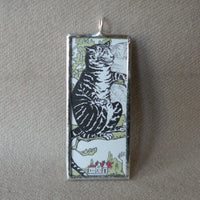 Cat, kitten, kitty, vintage children's book illustrations up-cycled to soldered glass pendant