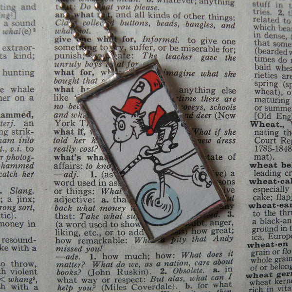 Cat in the Hat, original illustrations from vintage book, up-cycled to soldered glass pendant