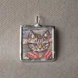 Cat, kitten, kitty, vintage advertising illustrations up-cycled to soldered glass pendant