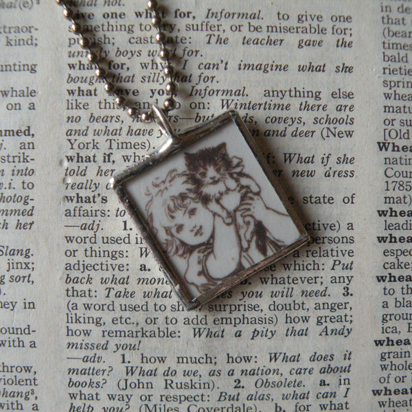 Girl with cat, child reading a book, vintage children's book illustrations up-cycled to soldered glass pendant