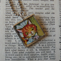 Charming cat and bird, vintage children's book illustration up-cycled to soldered glass pendant