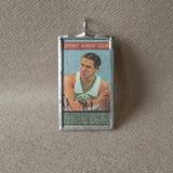 Vintage basketball card illustration, handmade soldered glass pendant