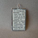 Centaur, vintage dictionary illustration up-cycled to soldered glass pendant