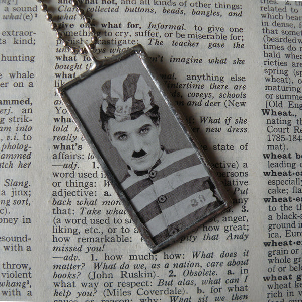 Charlie Chaplin, vintage photos, upcycled to soldered glass pendant
