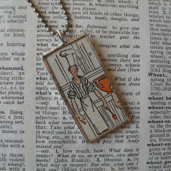 Little Chefs, vintage children's book illustration upcycled to soldered glass pendant