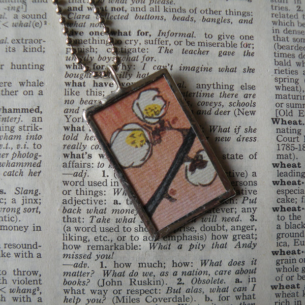 Cherry blossoms, Japanese woodblock print, up-cycled to hand-soldered glass pendant