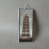 China historic tower, landscape, antique photo images, upcycled hand soldered glass pendant