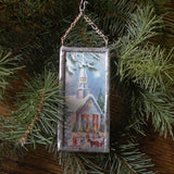 Baby Jesus, church with steeple, vintage Christmas cards, upcycled to hand-soldered glass Christmas tree ornament